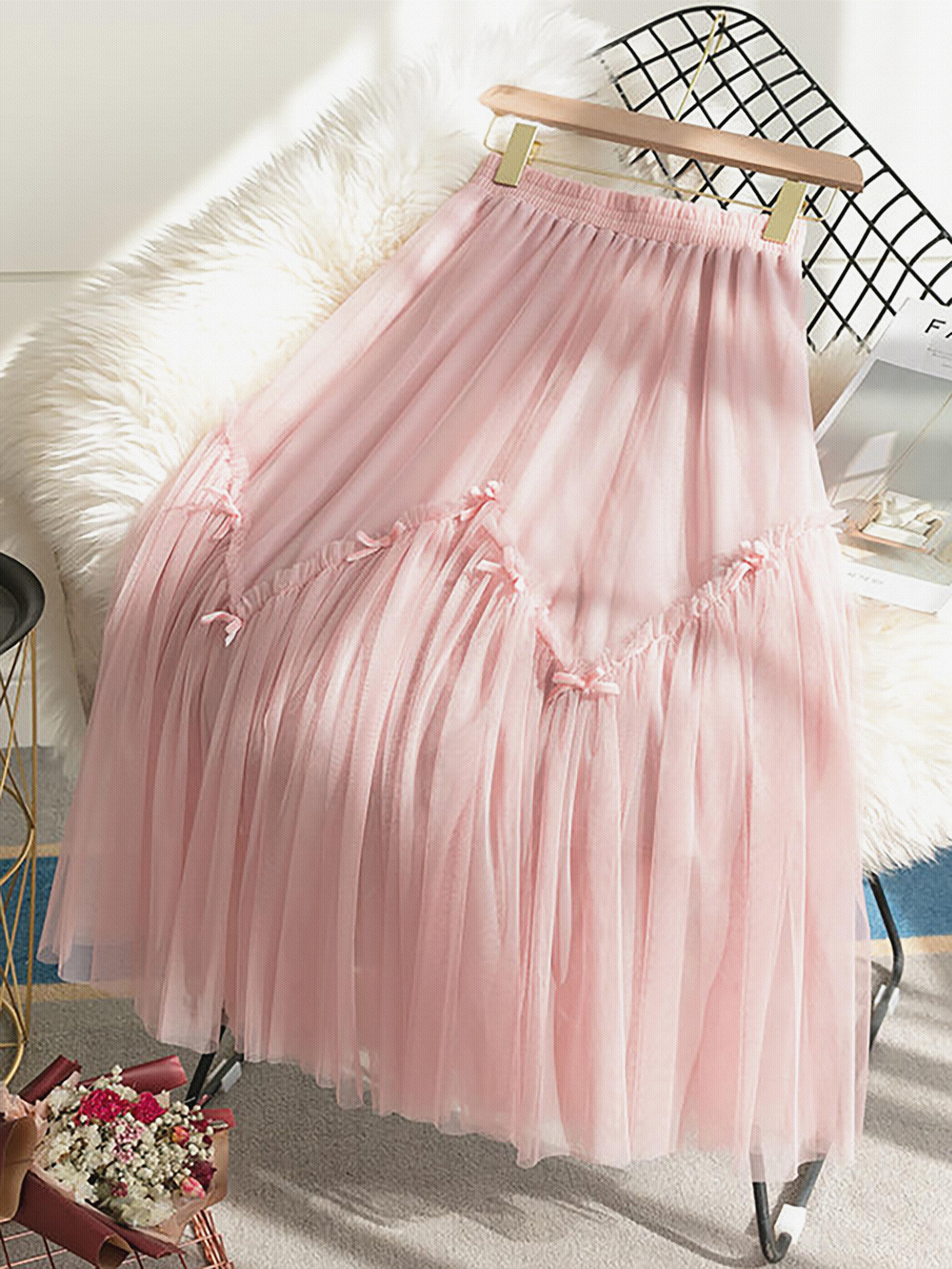 2020新款夏半身裙女学生网纱裙子中长款大摆蓬蓬裙高腰仙女裙