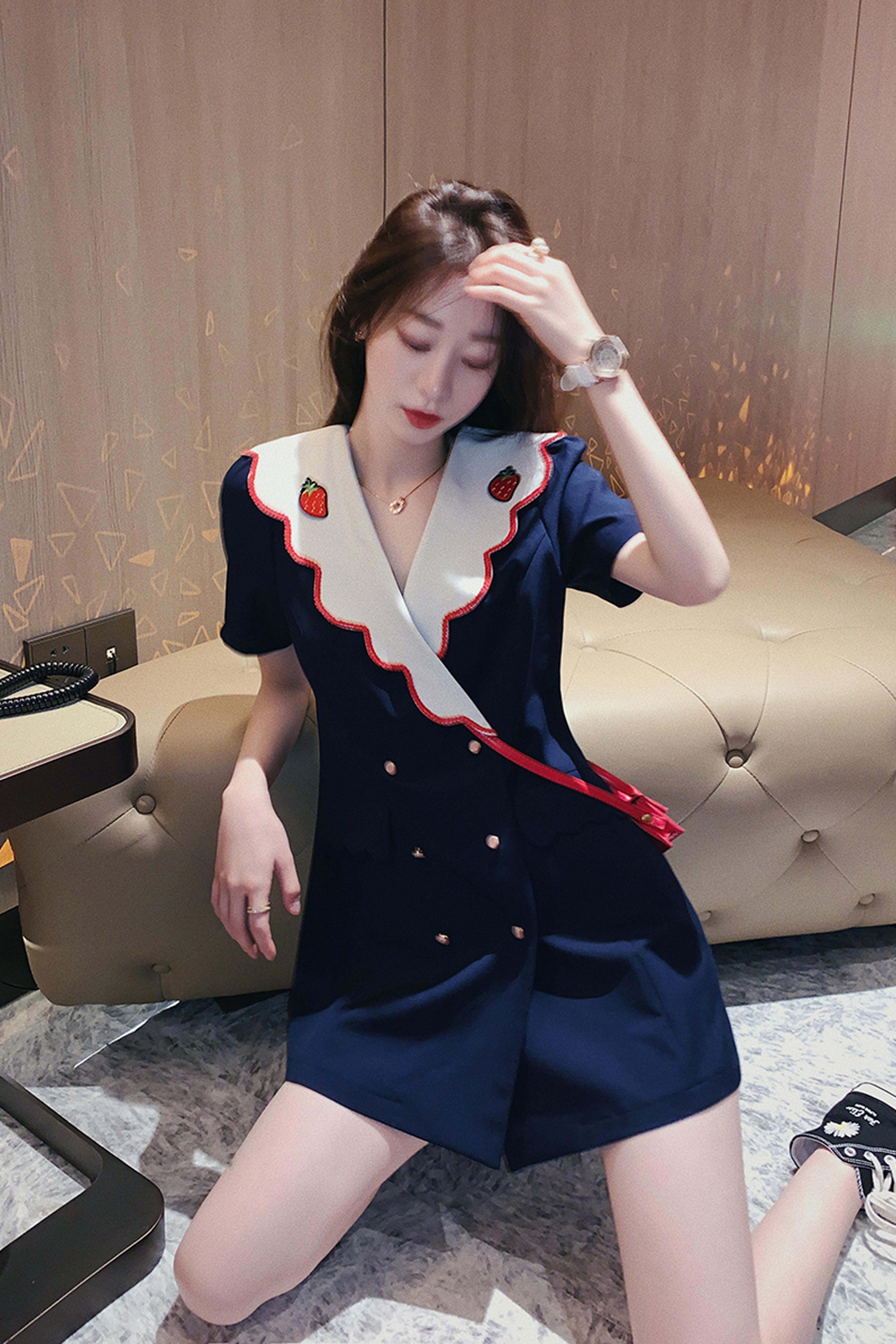 连衣裙女夏气质2020年新款韩版学院风学生甜美短袖仙女裙子女