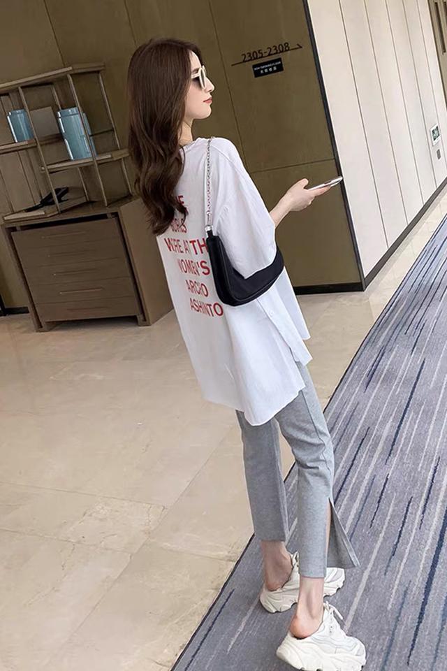 夏季新款韩版宽松纽扣开叉印花t恤+弹力开叉七分裤休闲套装