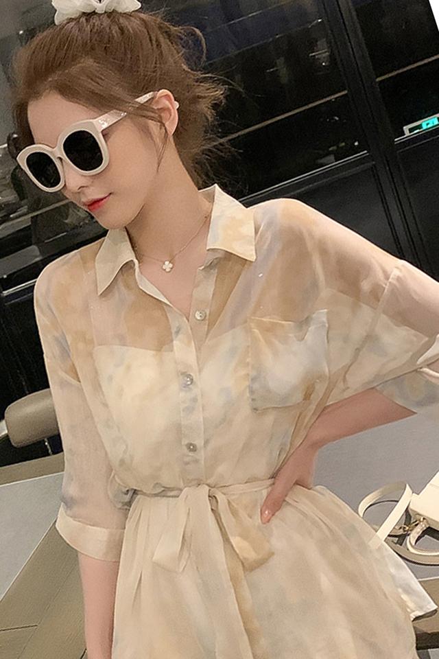 甜美轻熟风套装女夏季新款韩版中长款衬衫搭阔腿短裤防晒两件套