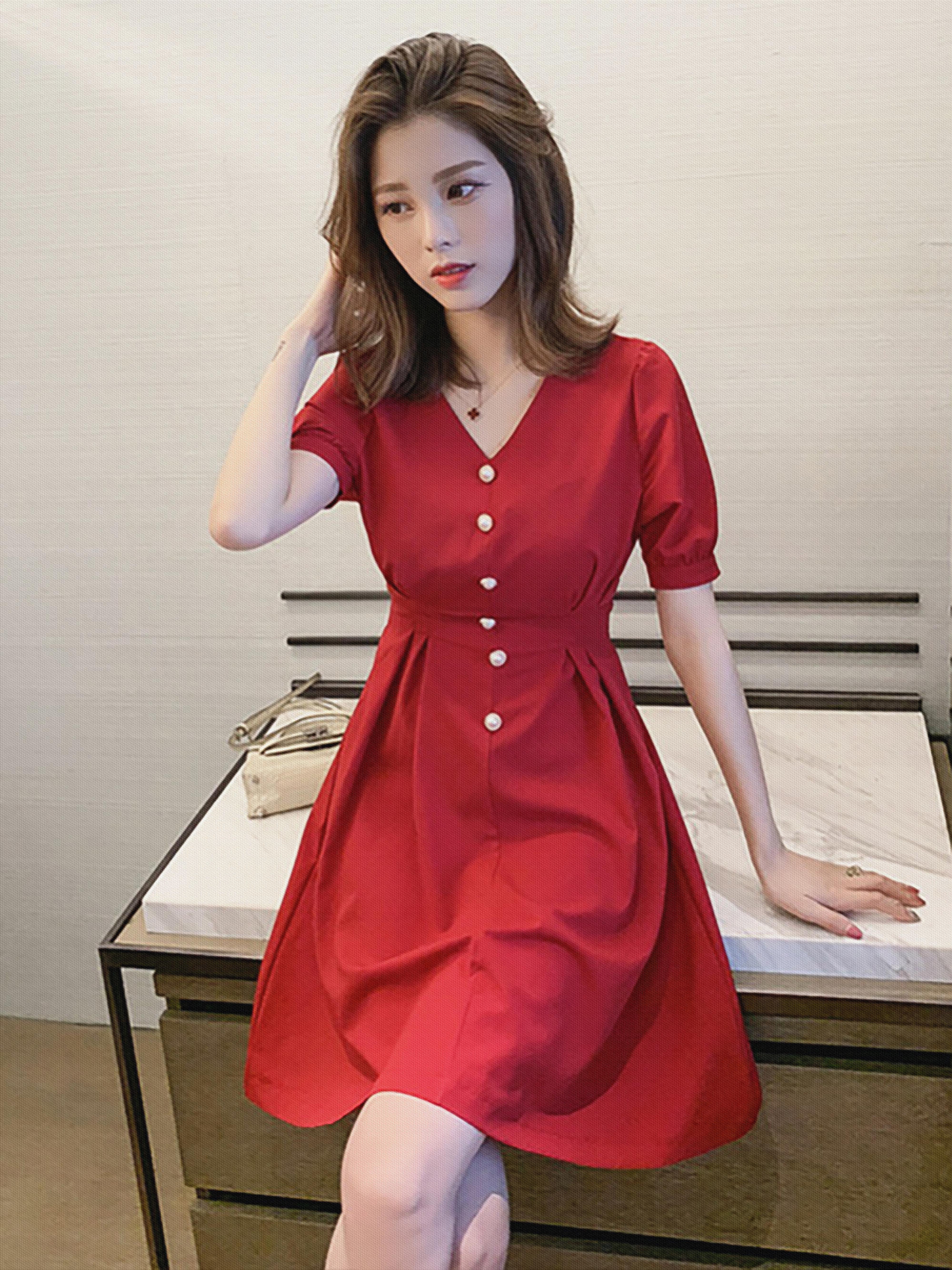 夏季新款复古法式裙子女学生网红小个子显瘦收腰气质连衣裙潮女