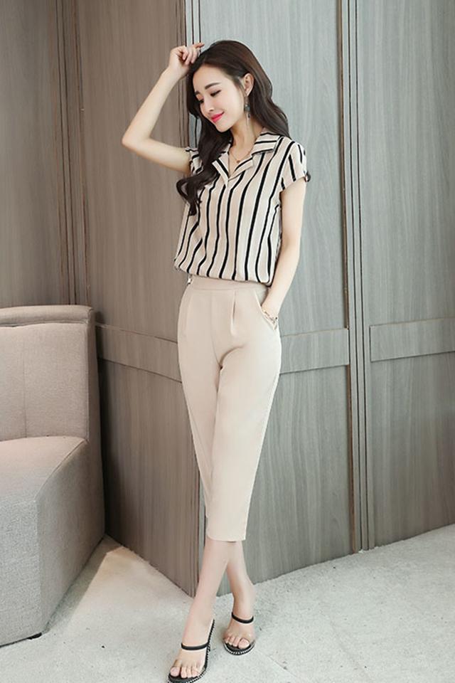 夏新款韩版修身显瘦七分裤薄款小脚裤休闲时尚气质小个子两件套装