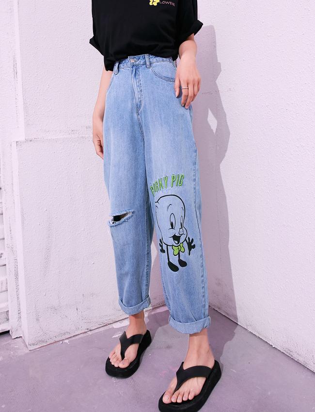 兔八哥妖精的口袋破洞薄款牛仔裤女2020夏季新款阔腿裤子00