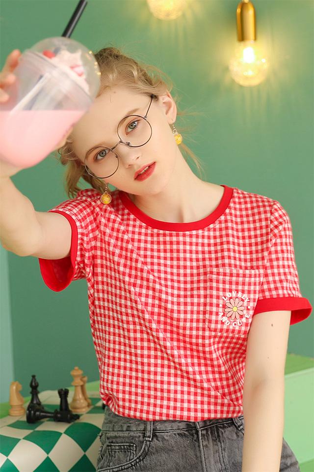 红色短袖T恤女夏季2020年新款宽松学生半袖上衣洋气时尚体桖