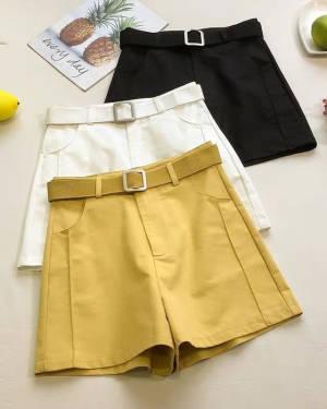 【米粒儿168_】带】时髦腰带白色短裤女高腰外穿休闲阔腿热裤 #百元搭一套#