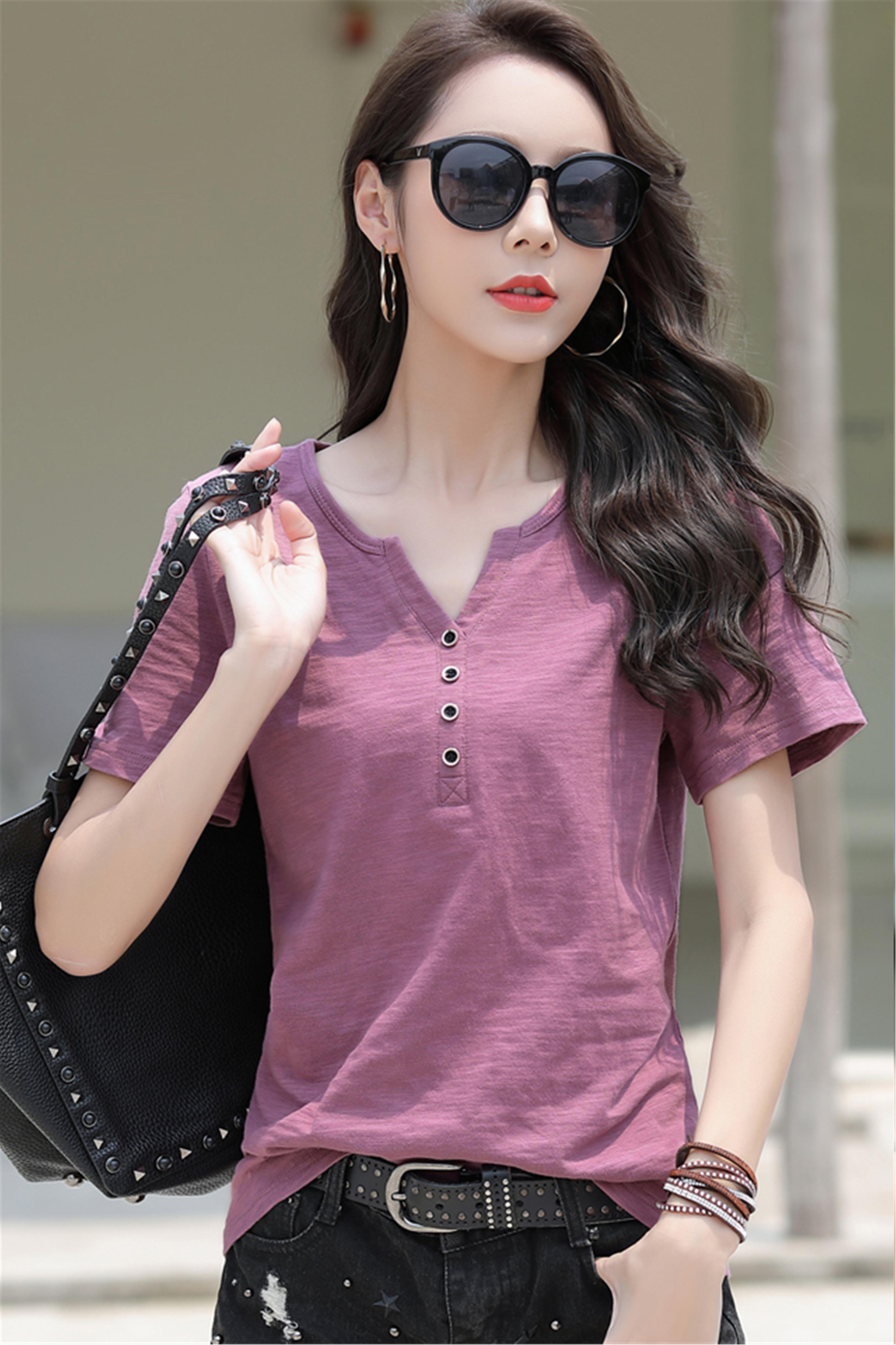 2020新款夏季女T恤纯棉短袖宽松大码V领半袖体桖上衣汗衫潮