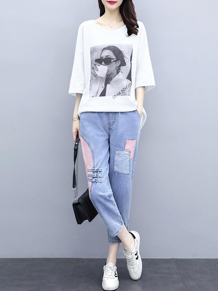 欧洲站夏装新款中长款t恤+七分牛仔裤时尚套装大码胖mm两件套