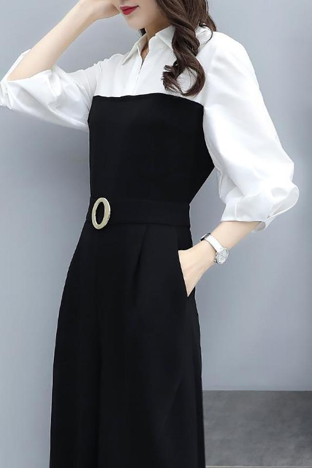 2020年夏季新款韩版休闲气质阔腿连衣裤收腰显瘦黑色连体裤女