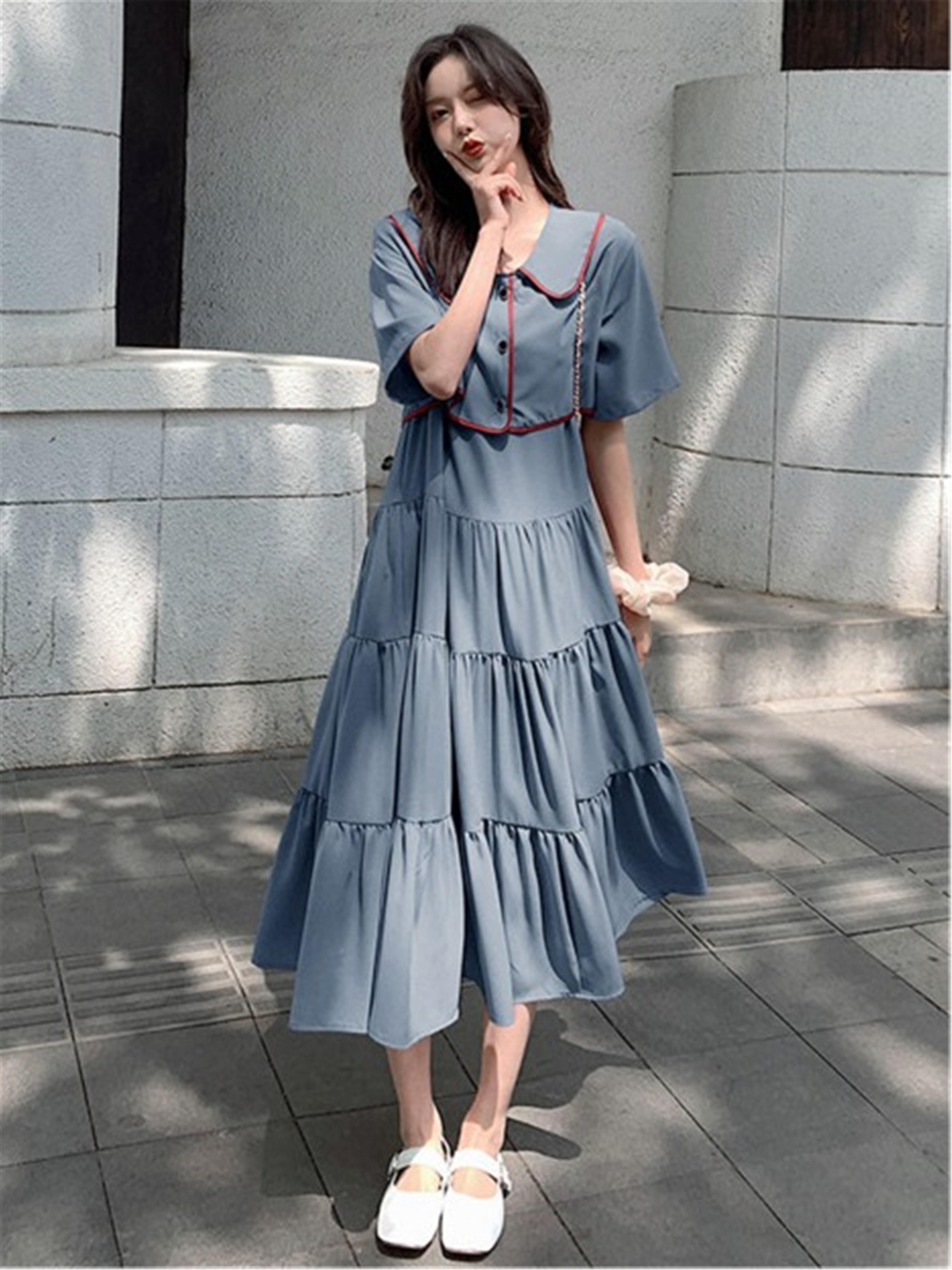 雪纺连衣裙女2020年新款夏长裙学生桔梗少女长款森系仙女裙子
