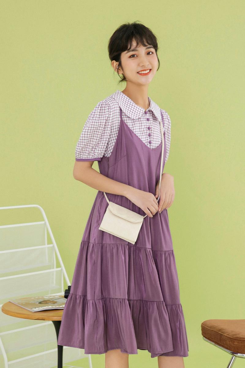 蜜妃儿甜美小清新可盐可甜连衣裙小个子2020新款学生吊带裙女