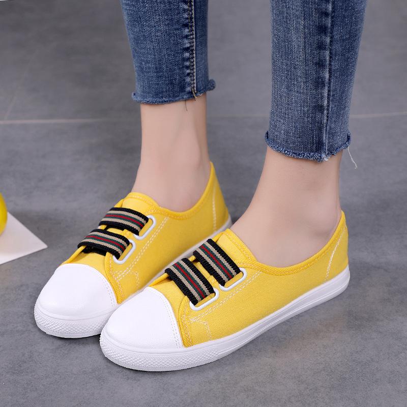 2020新款韩版百搭帆布鞋女鞋一脚蹬懒人鞋平底透气低帮休闲鞋