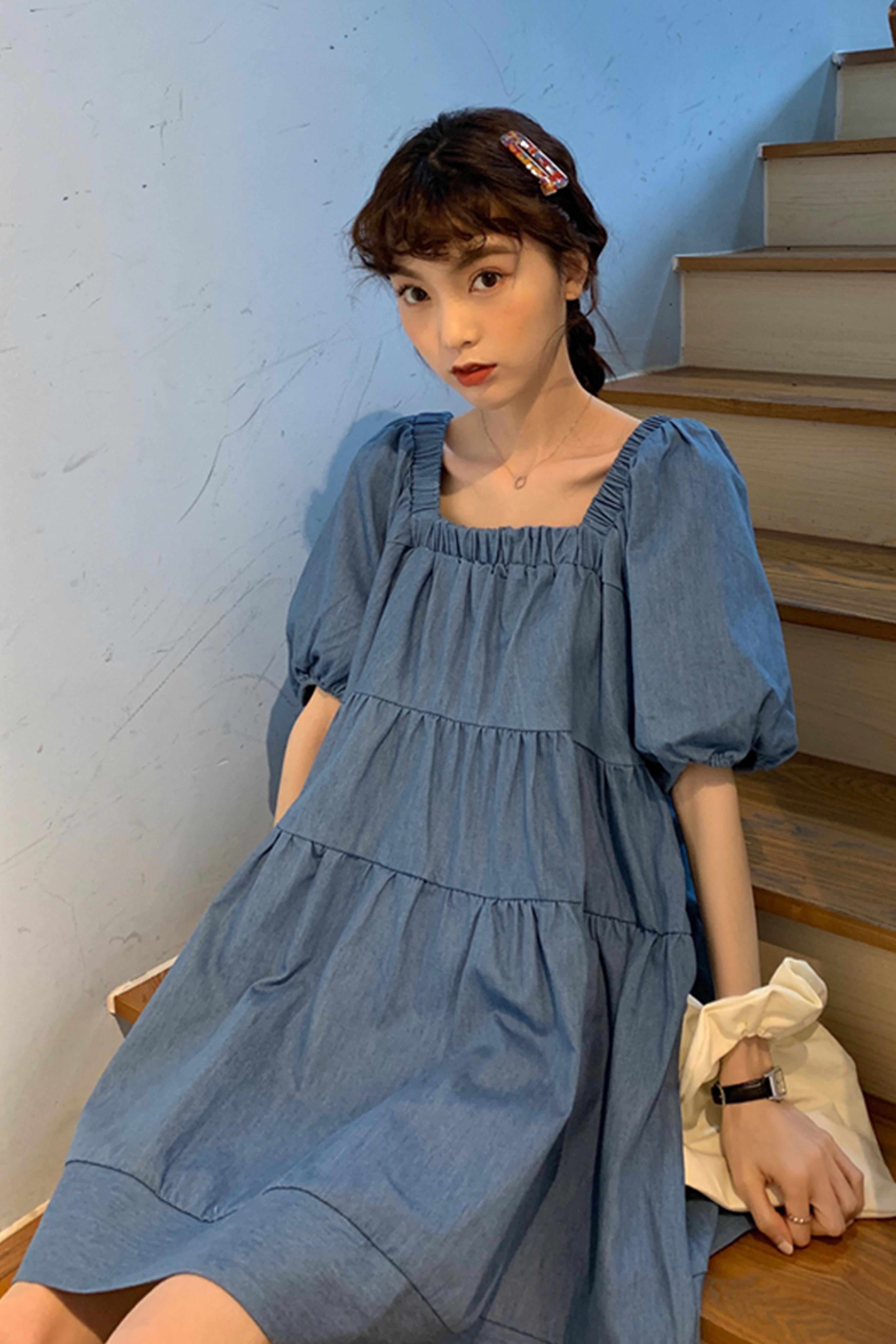 法式方领学生娃娃裙2020新款韩版宽松蓝色泡泡袖小个子连衣裙