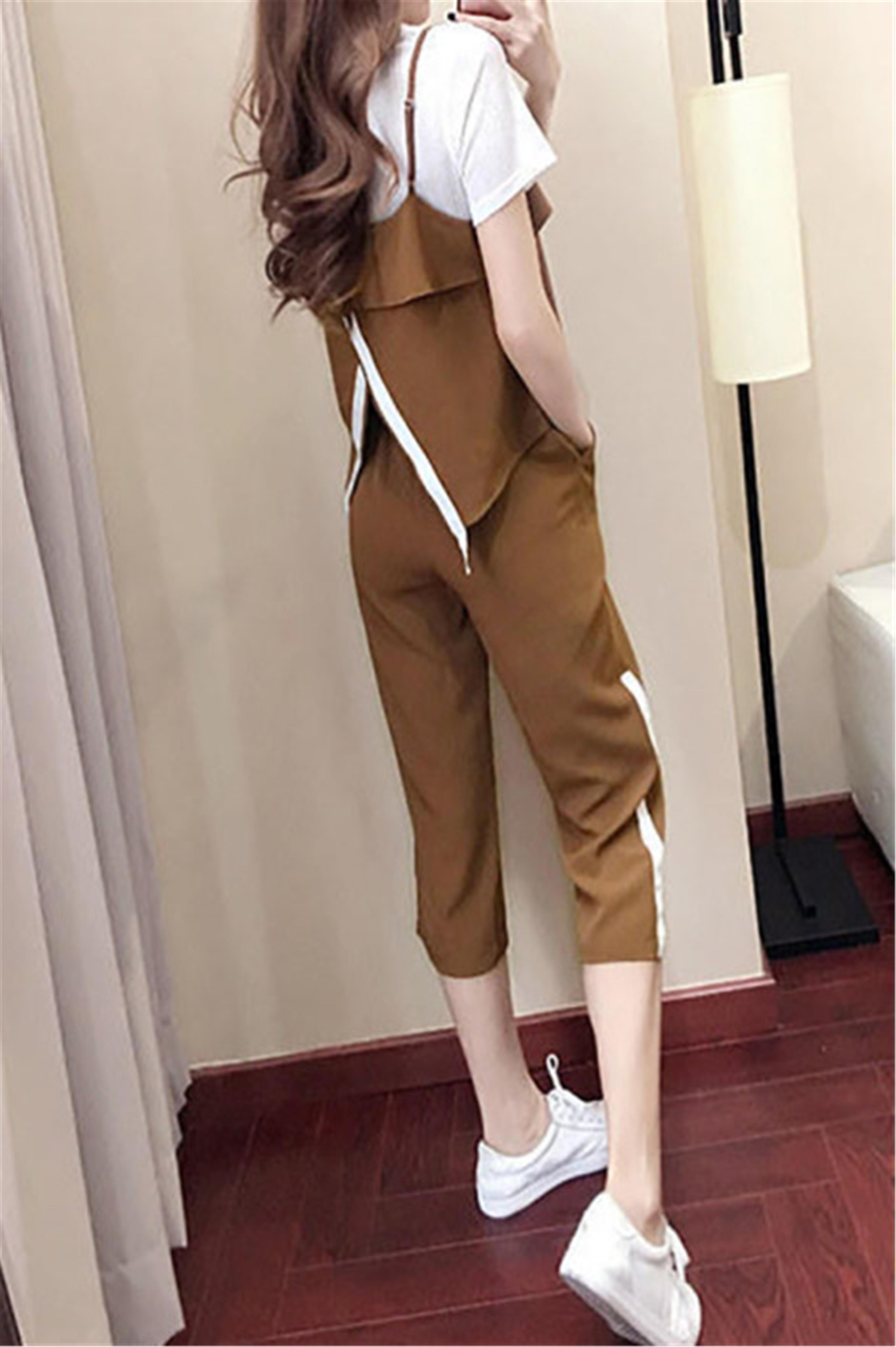 小个子七分裤休闲运动套装女夏季新款韩版大码时髦洋气三件套