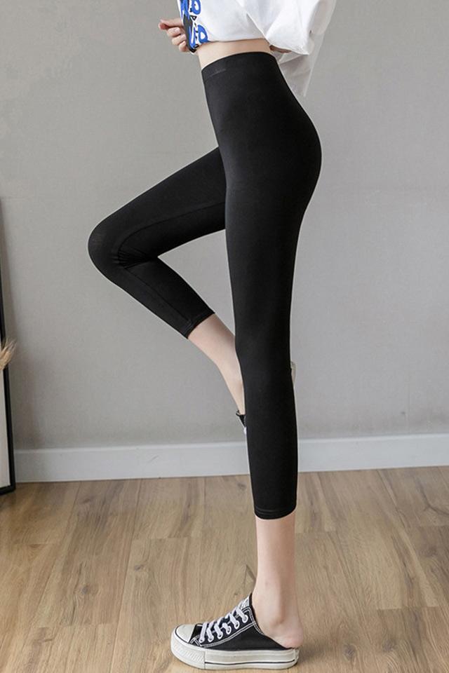 莫代尔夏季打底裤女外穿显瘦薄款新款小脚黑色紧身高腰七分裤大码