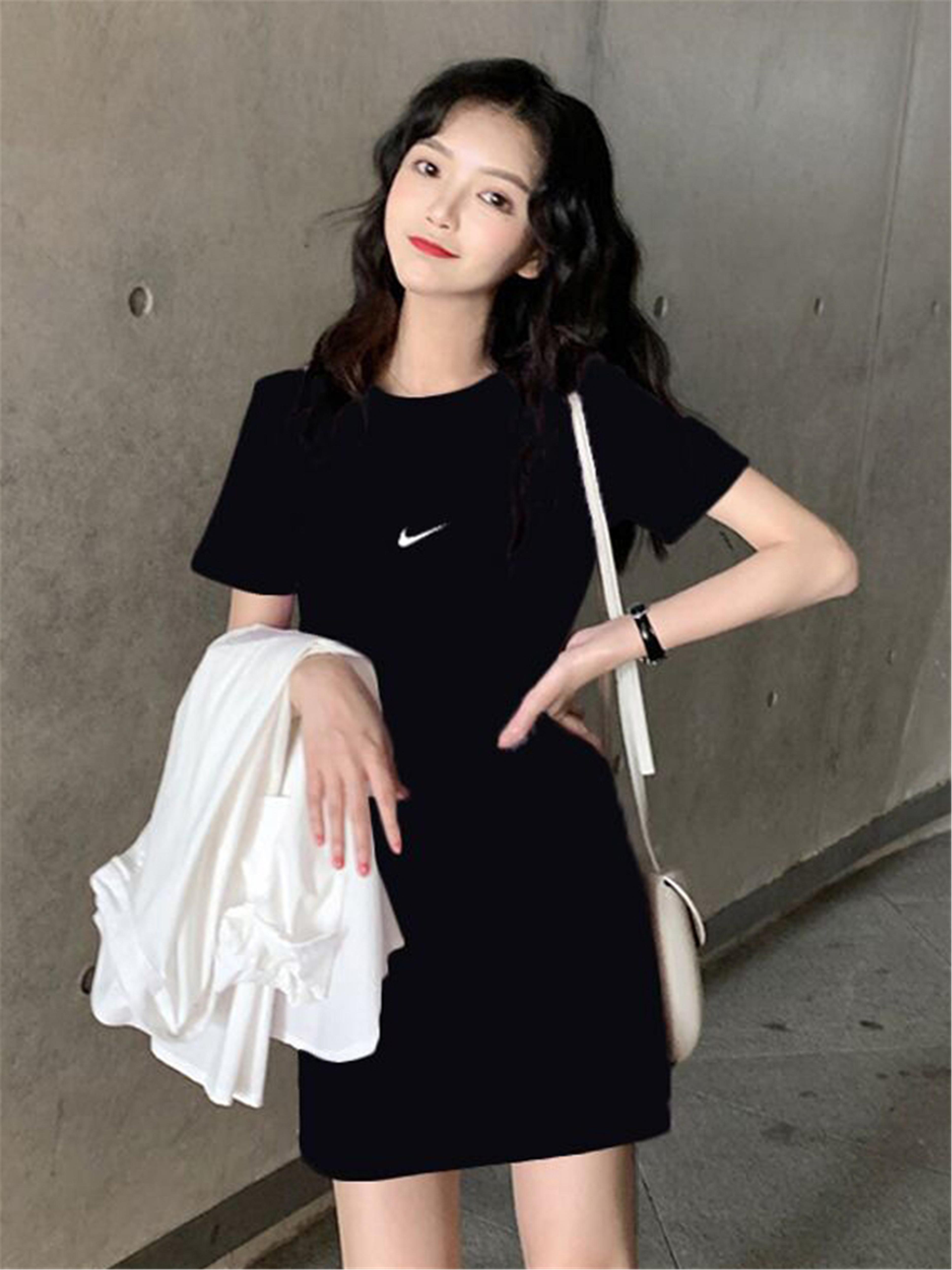 夏季韩版2020T恤裙宽松短袖连衣裙网红小勾nk学生裙子女