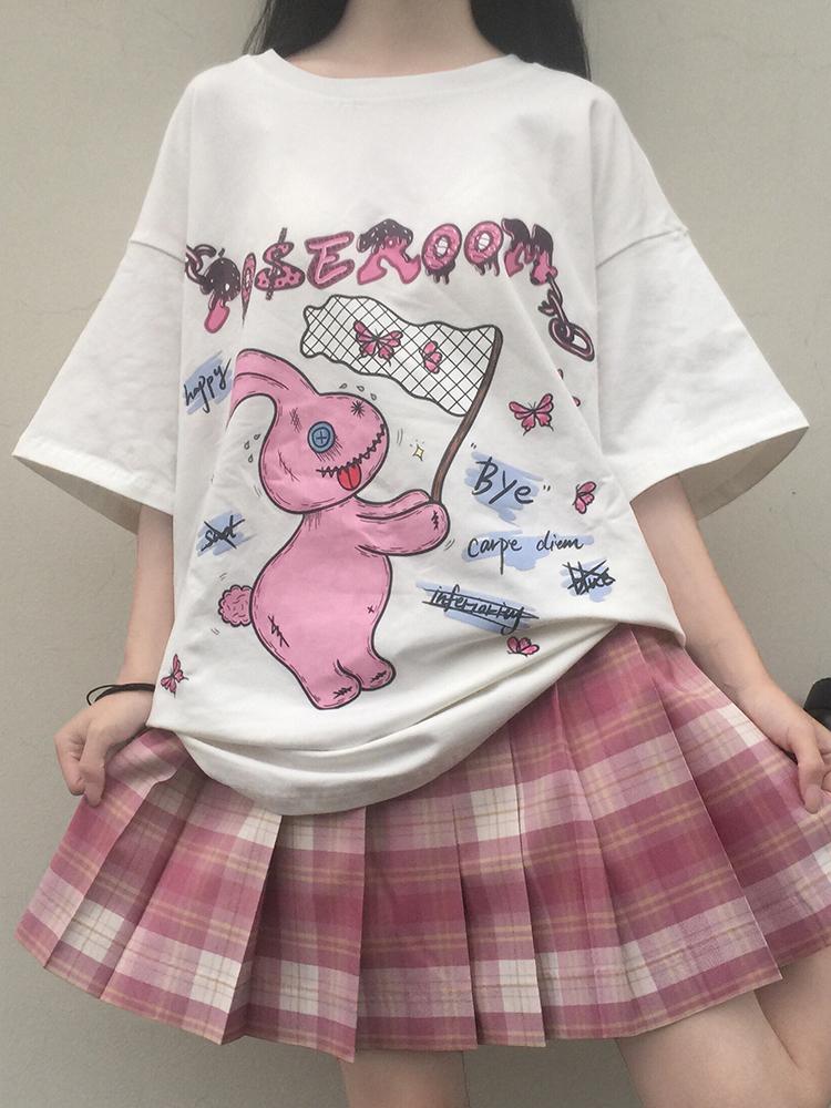 2020年怪味少女上衣捕捉蝴蝶印花趣味涂鸦可爱宽松短袖t恤女