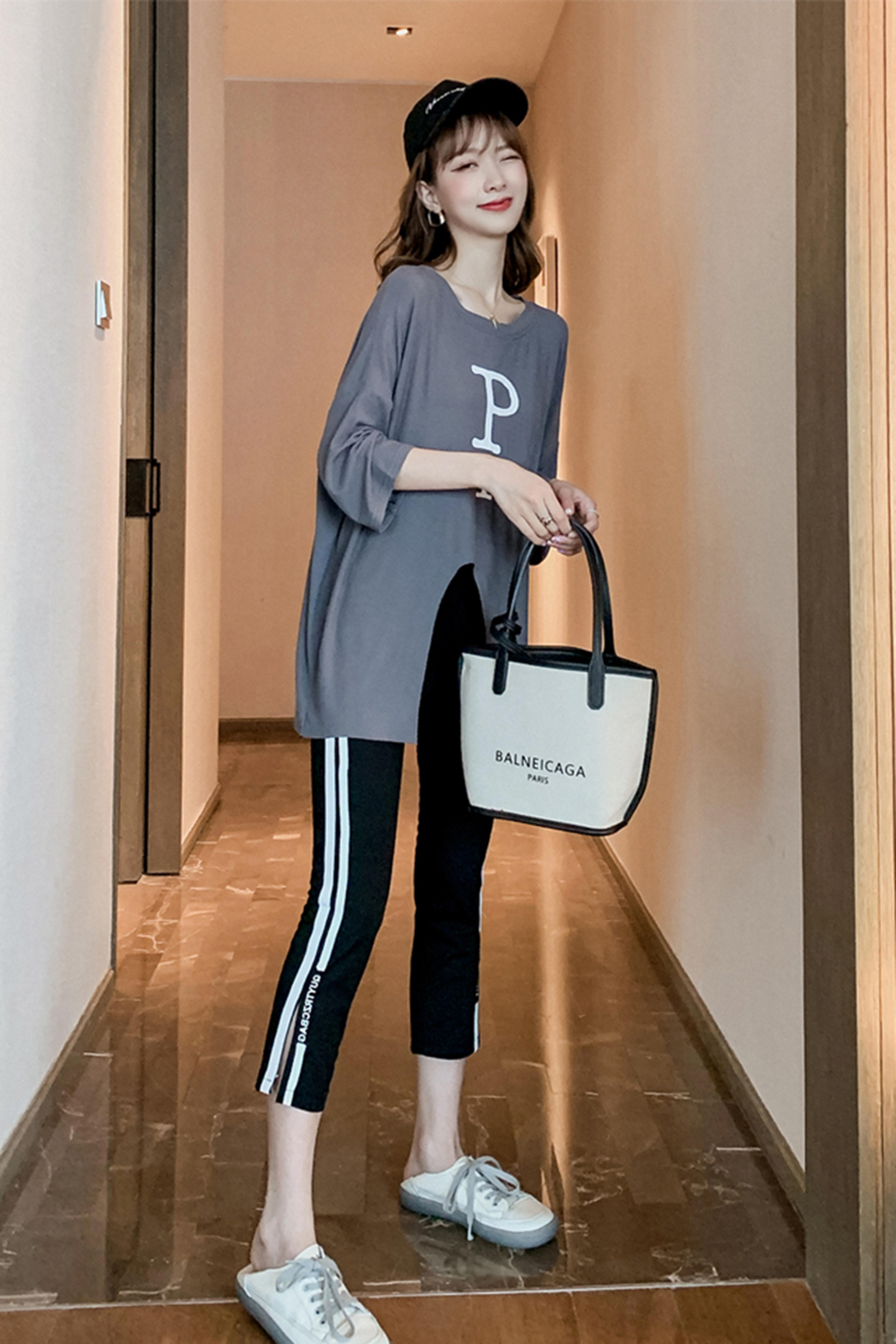 时尚套装女2020年新款洋气减龄宽松长款t恤两件套休闲裤套装