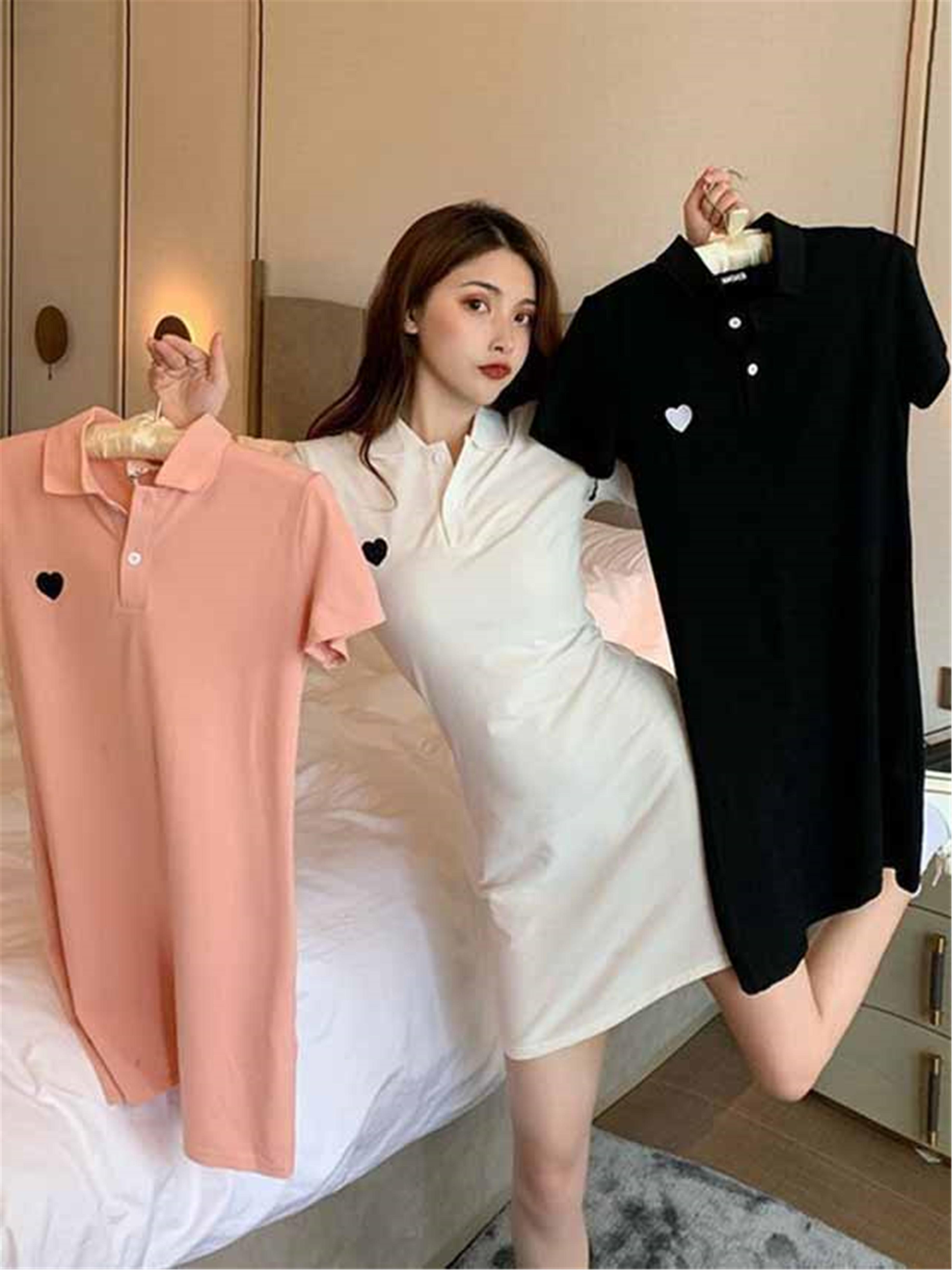 夏季学生韩版短袖Polo连衣裙修身显瘦刺绣A字裙中长款T恤裙