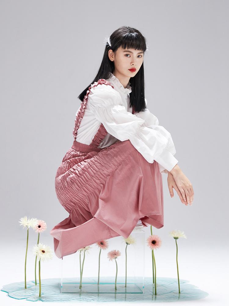 阔色高腰背带裙女2020夏季新款韩版学生设计感小众显瘦裙子
