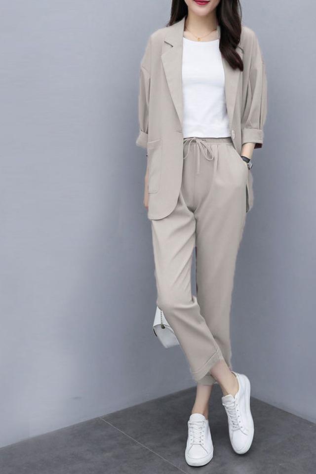 两件套/单件2020新款小西装外套大码宽松显瘦休闲西服套装女