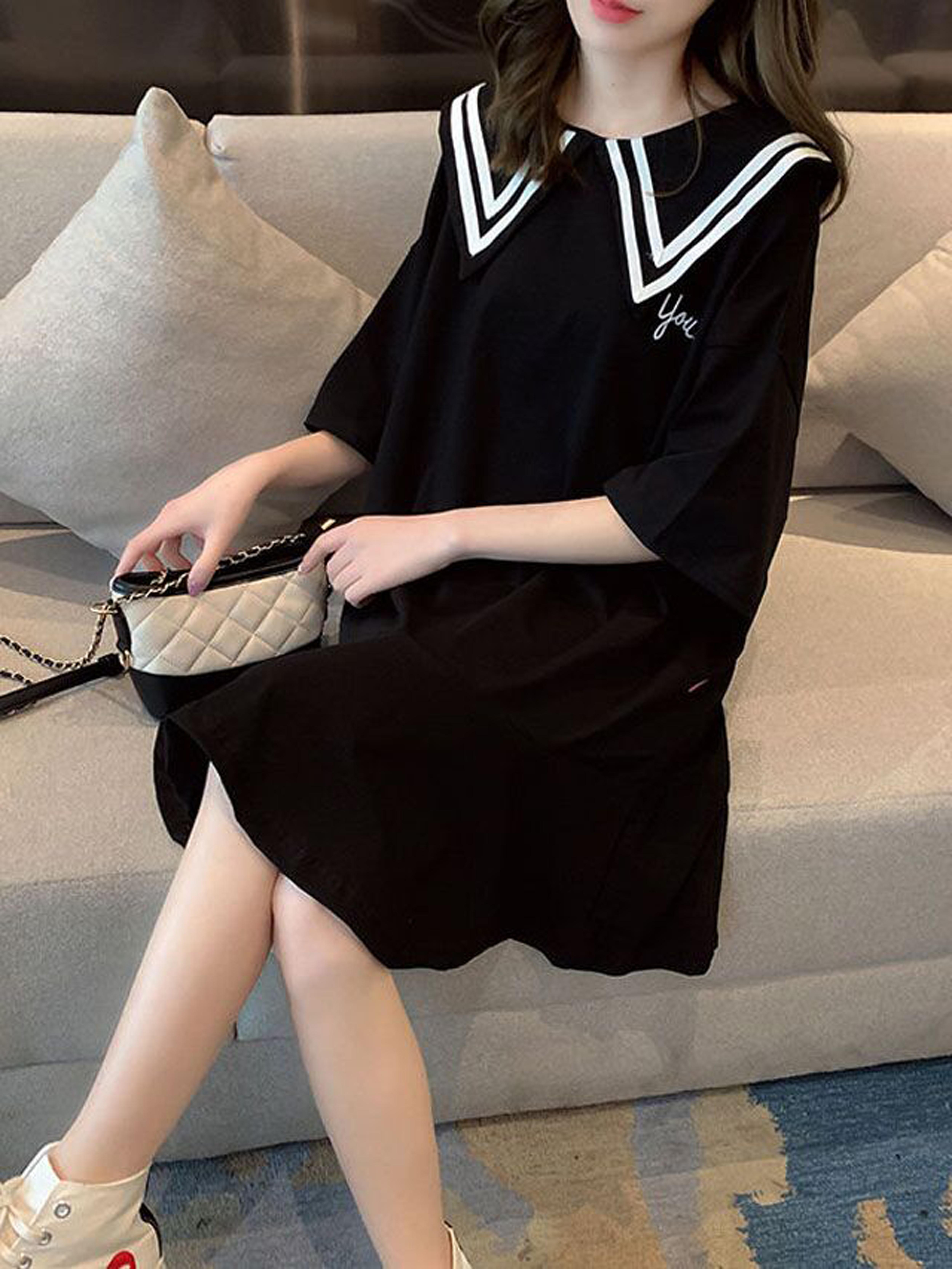 夏季新款日系森女系学生院风宽松显瘦娃娃领半袖连衣裙女ins潮