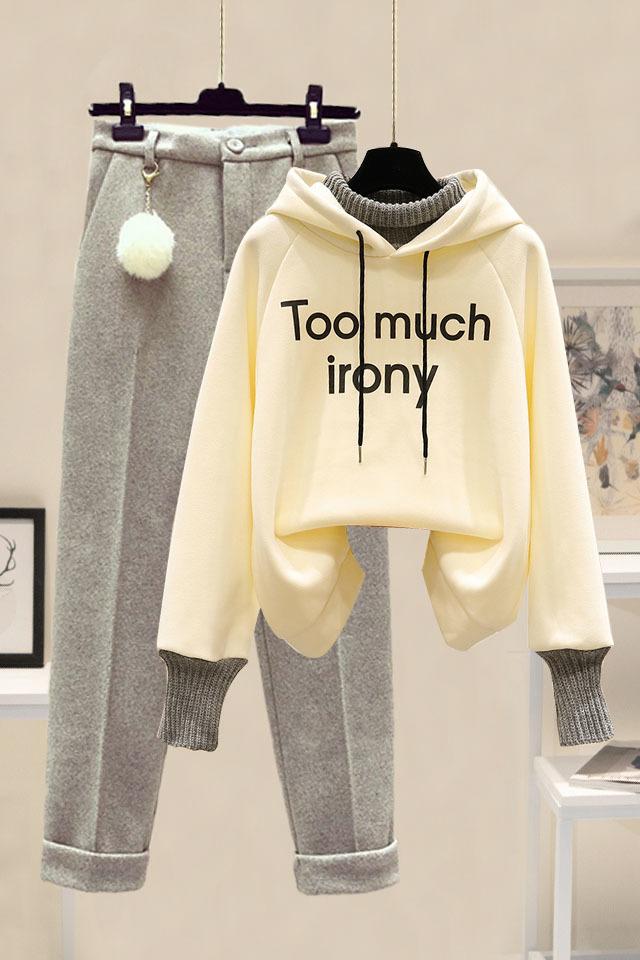 秋冬套装女韩版宽松假两件加绒卫衣女+高腰加厚毛呢裤时尚两件套