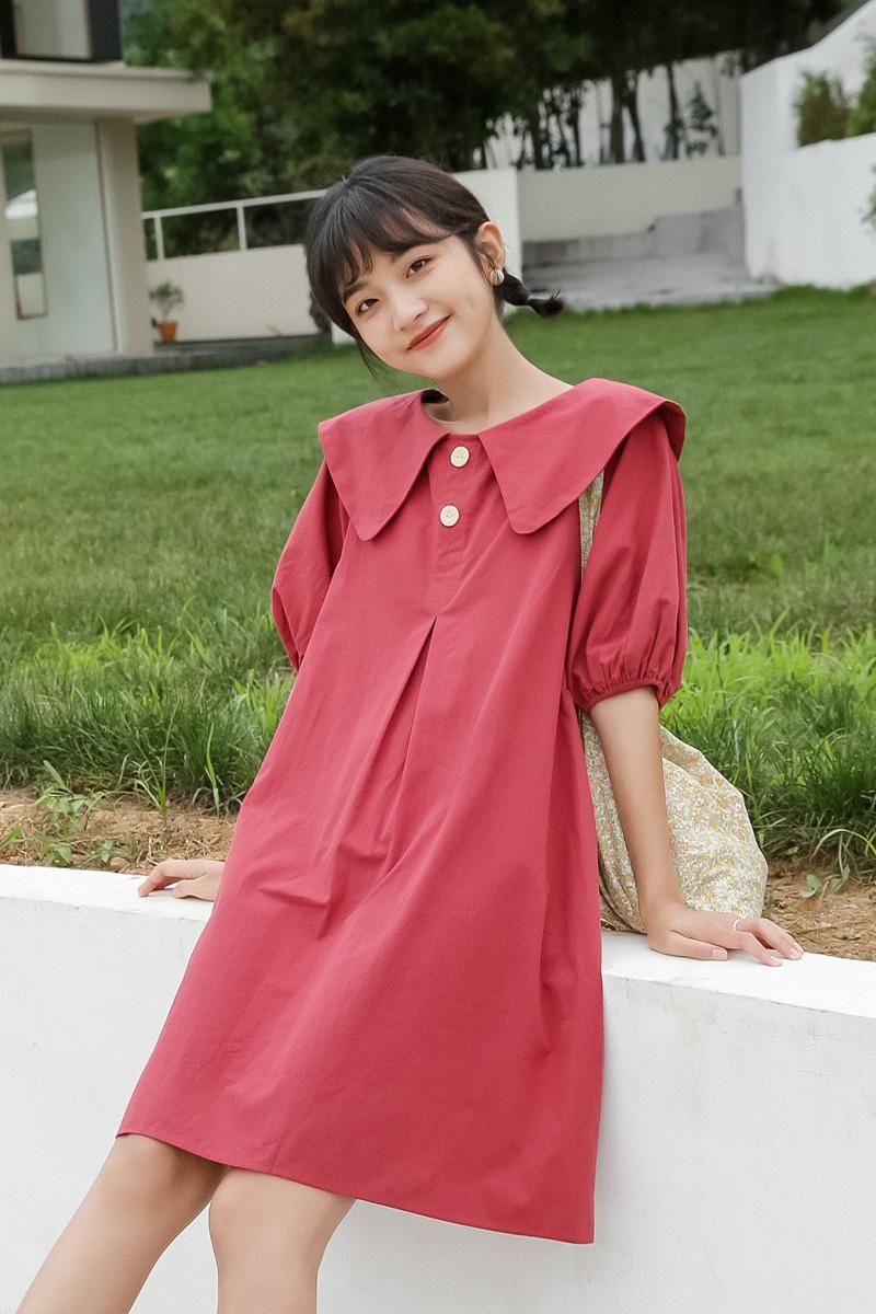 蜜妃儿小个子甜美泡泡袖连衣裙2020新款夏学院风娃娃领学生裙