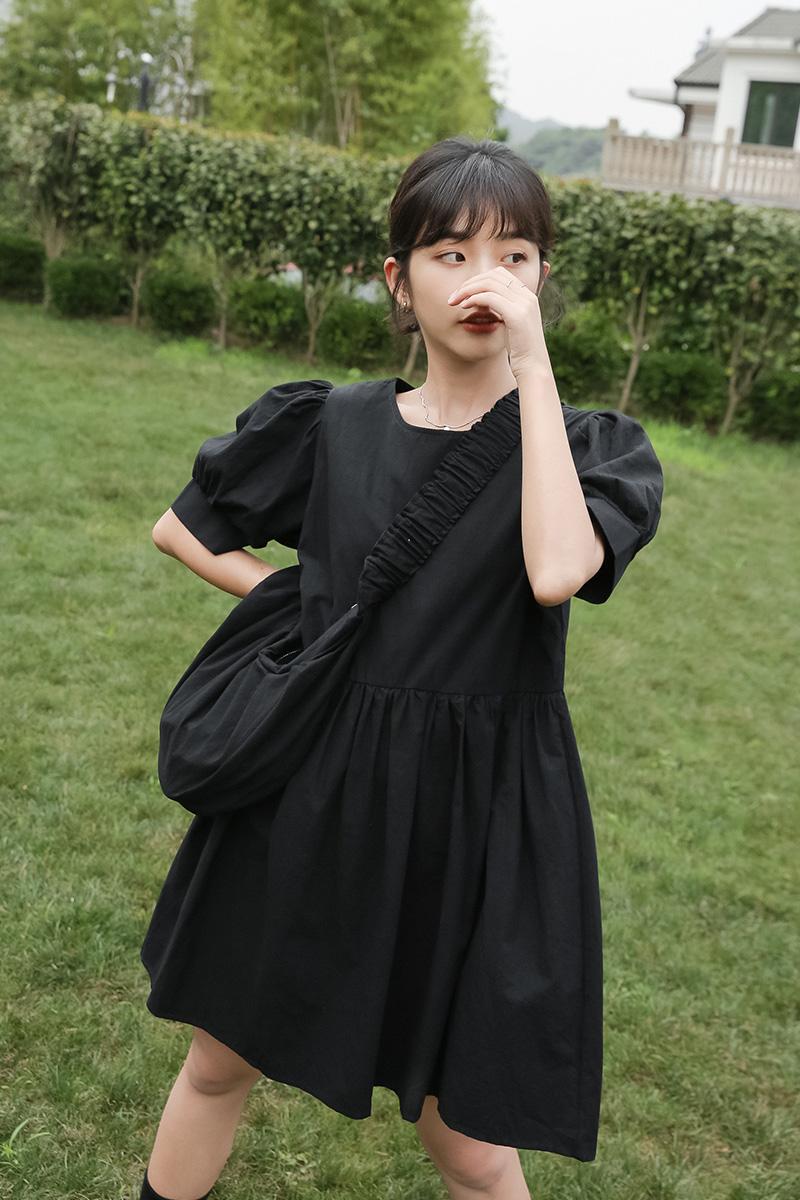 蜜妃儿法式复古泡泡袖连衣裙2020新款夏学生小个子显高显瘦裙