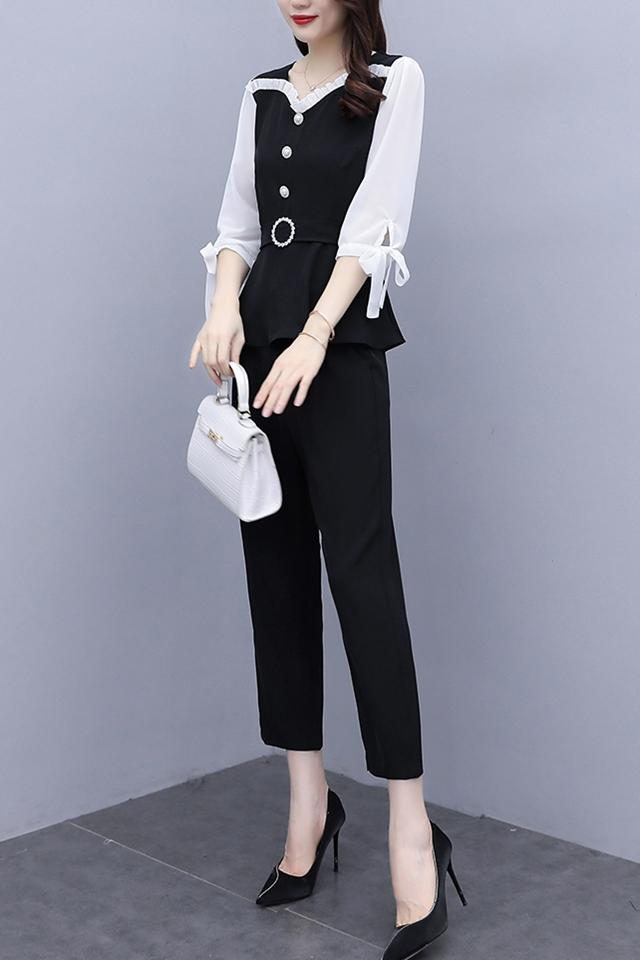 休闲套装女2020秋新款韩版名媛气质显瘦遮肉轻熟风时尚两件套
