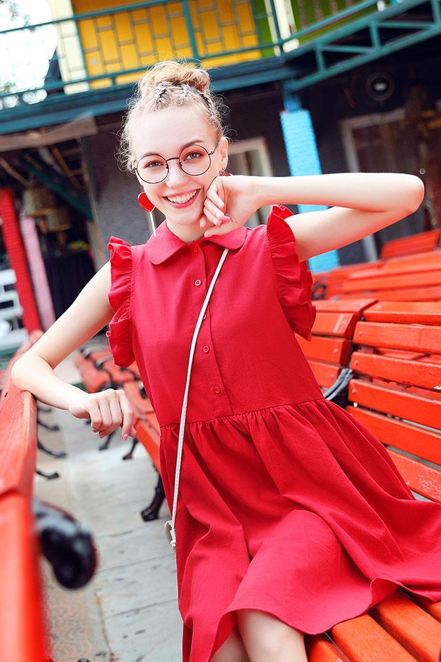 娃娃领复古连衣裙女夏2020新款中长款学生文艺宽松衬衫裙木耳