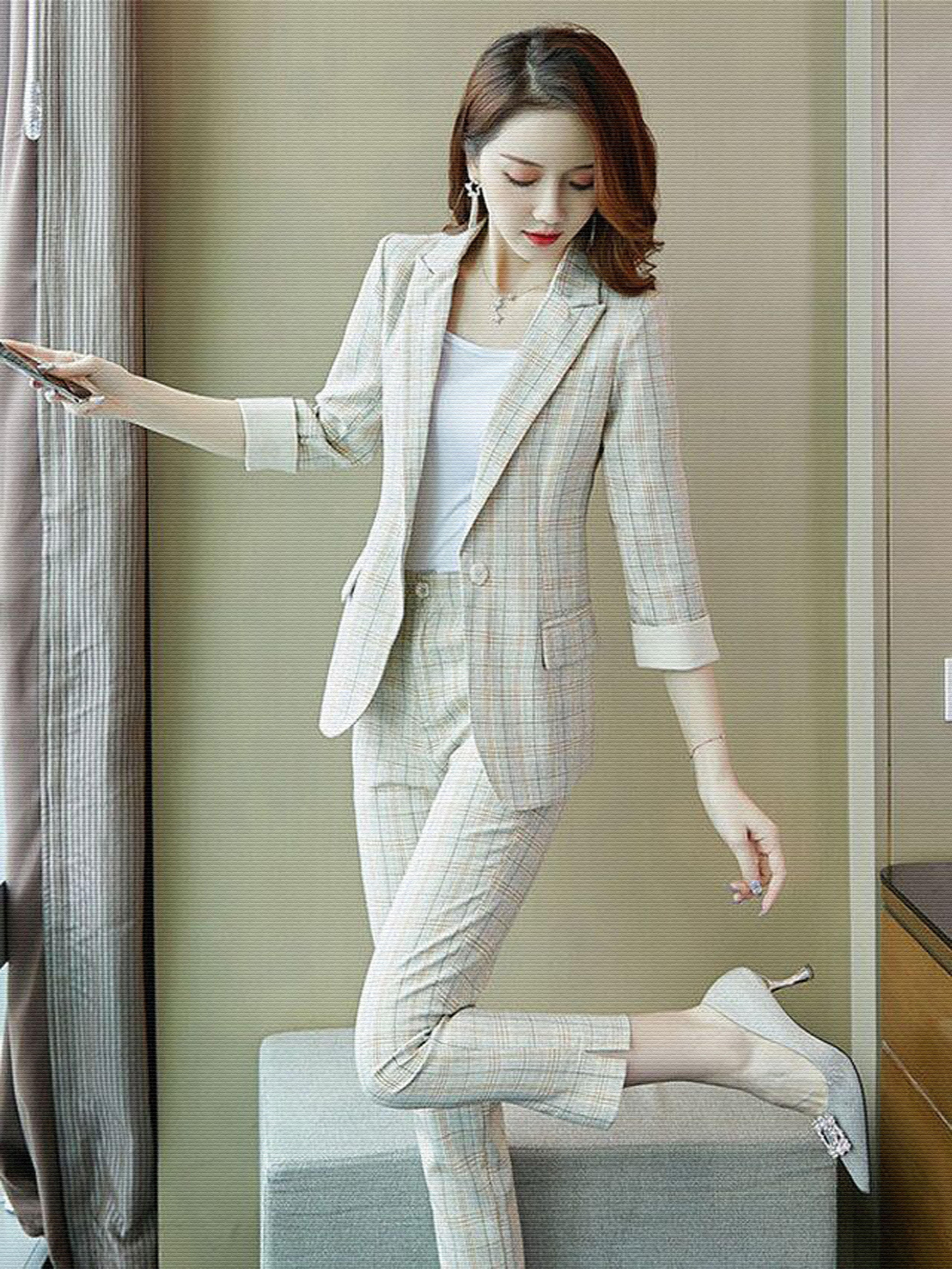 夏季新款洋气七分袖小西装+高腰七分休闲裤小香风两件套时尚套装