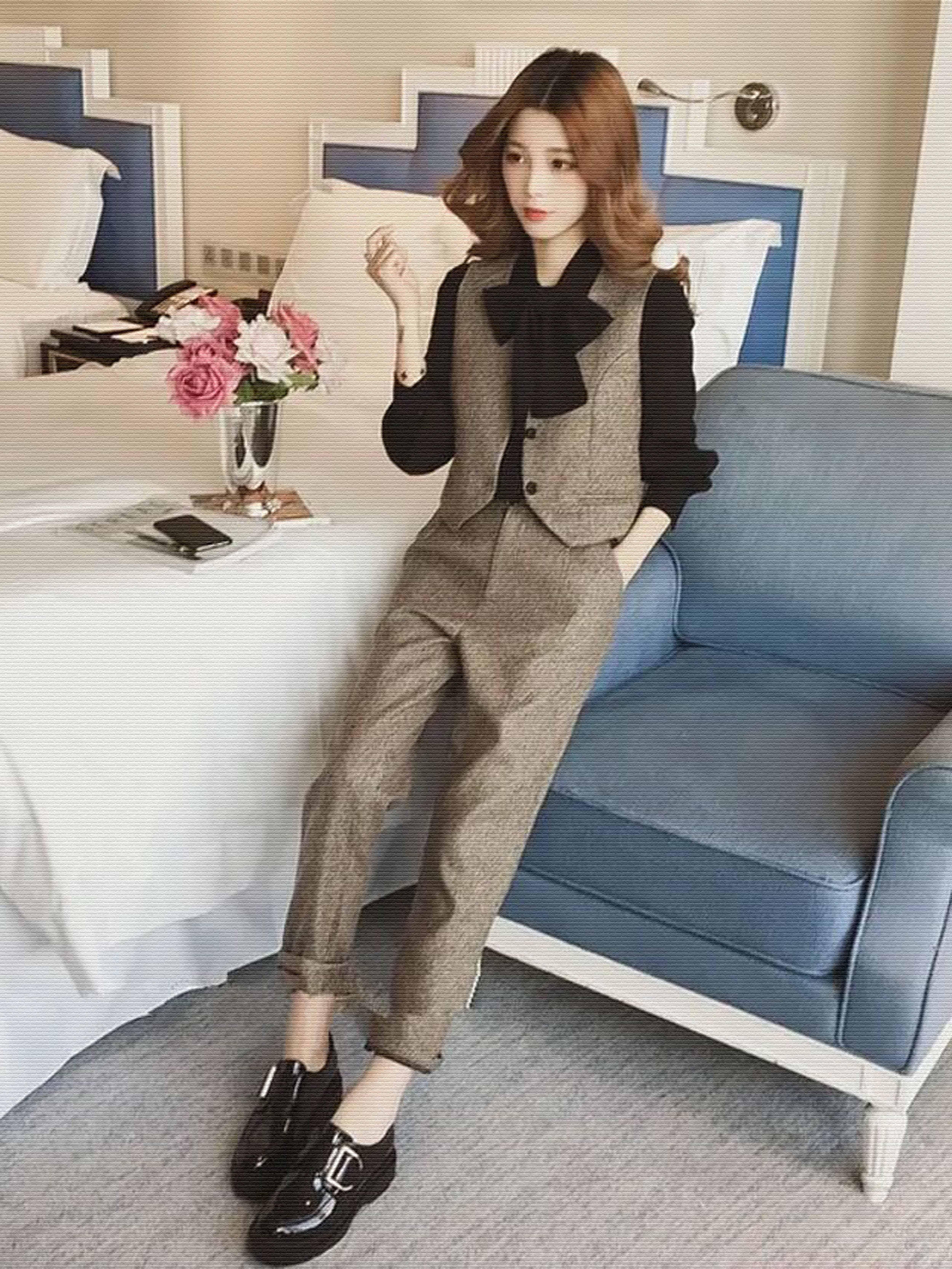 秋季新款洋气七分袖衬衫+复古西装马甲+休闲长裤三件套时尚套装