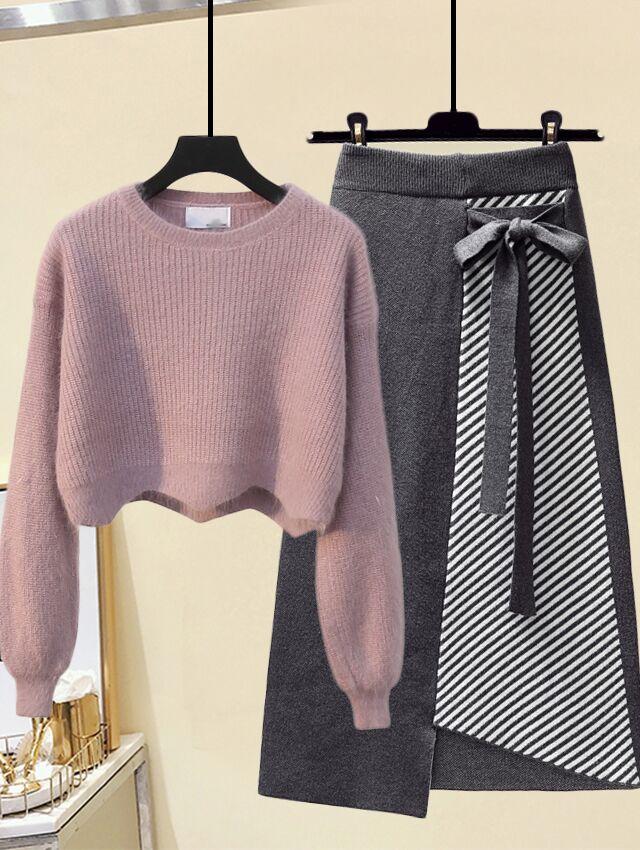 秋冬套装女韩版洋气百搭短款立领毛衣+高腰拼接条纹半身裙两件套
