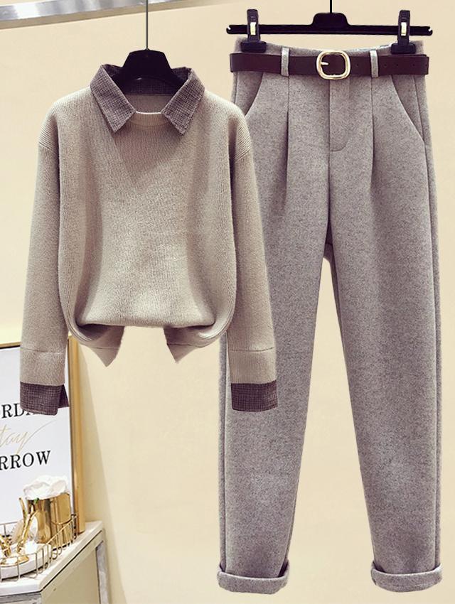 小个子时尚套装宽松显瘦秋冬假两件针织毛衣女高腰显瘦小脚毛呢裤