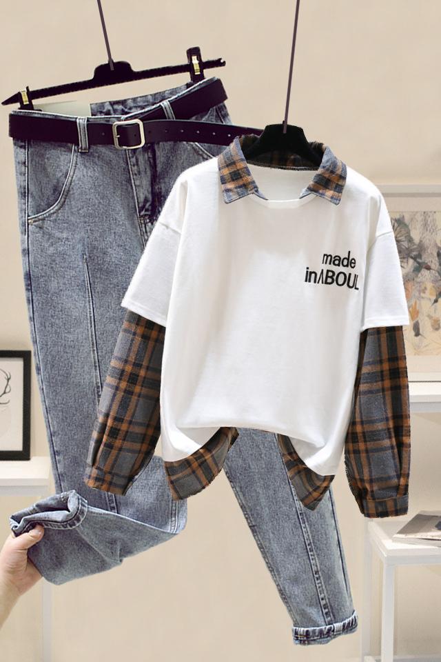 小个子时尚套装韩版拼接假两件卫衣女+高腰宽松哈伦牛仔裤两件套