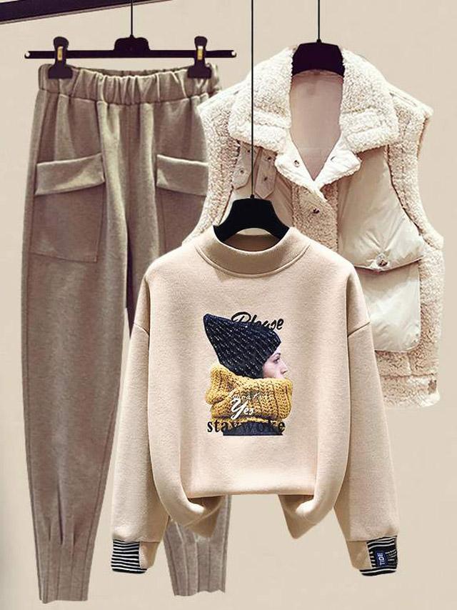 女装小个子减龄卫衣显高毛呢裤新款马甲时尚套装三件套洋气秋冬季