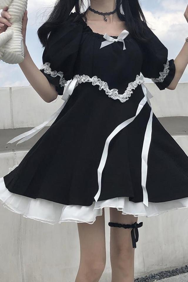 2020夏新款学生宽松显瘦小个子洋气泡泡袖裙子洛丽塔连衣裙女
