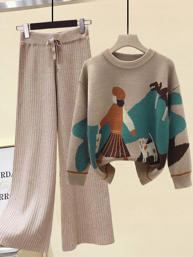 小个子套装女冬季时尚宽松图案印花保暖毛衣+高腰宽松针织休闲裤