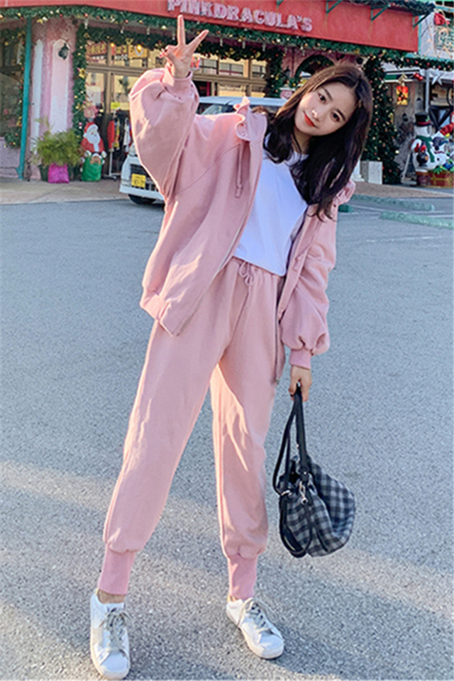 秋冬季休闲运动套装女学生韩版宽松连帽卫衣时尚两件套网红潮
