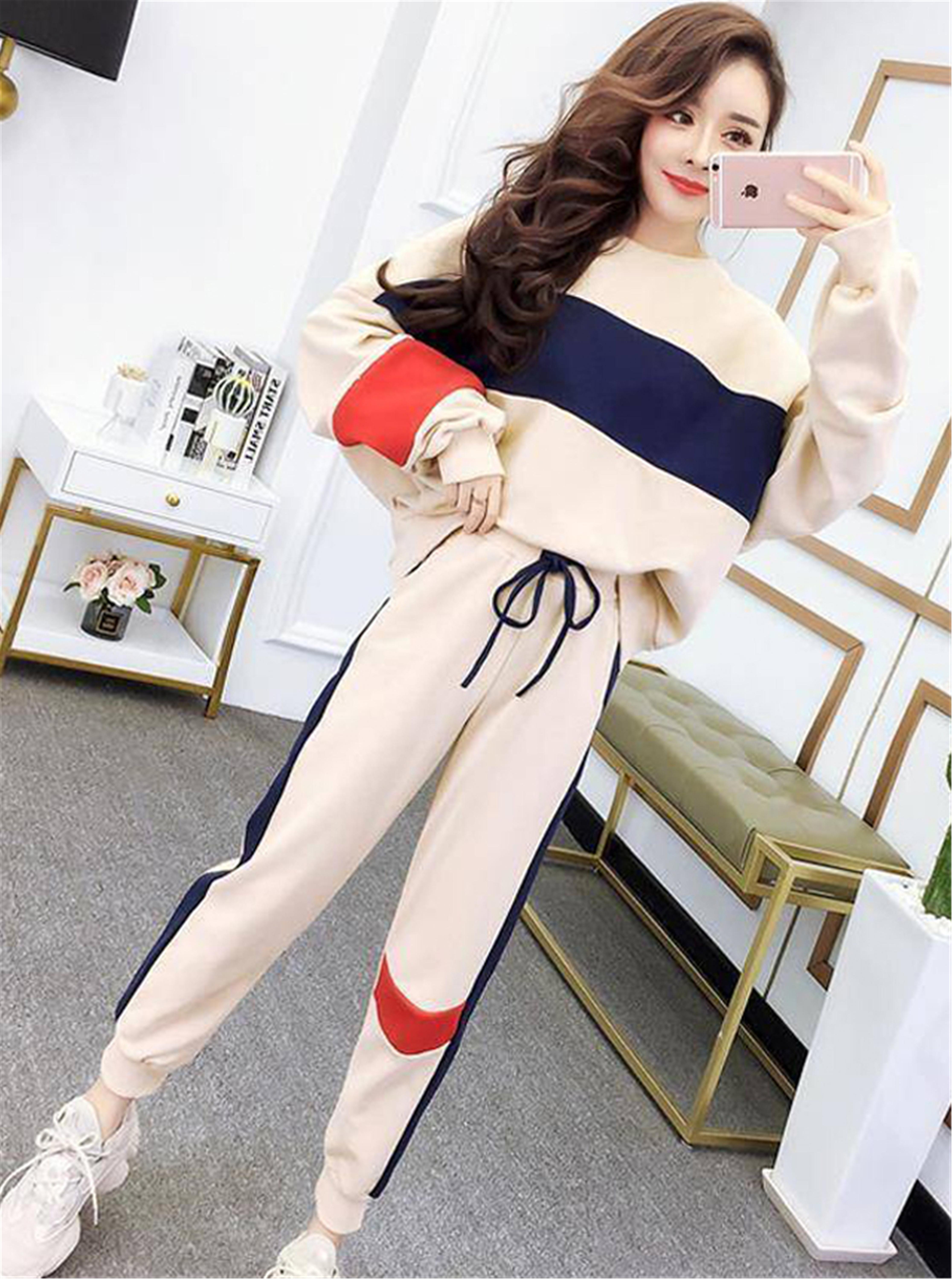 套装运动服女秋冬2020新款韩版时尚宽松高腰跑步休闲两件套