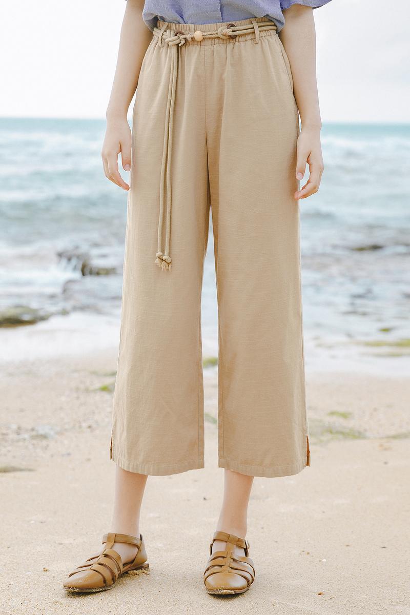 茵曼七分阔腿裤女2020年夏装新款宽松垂感显瘦复古文艺休闲裤