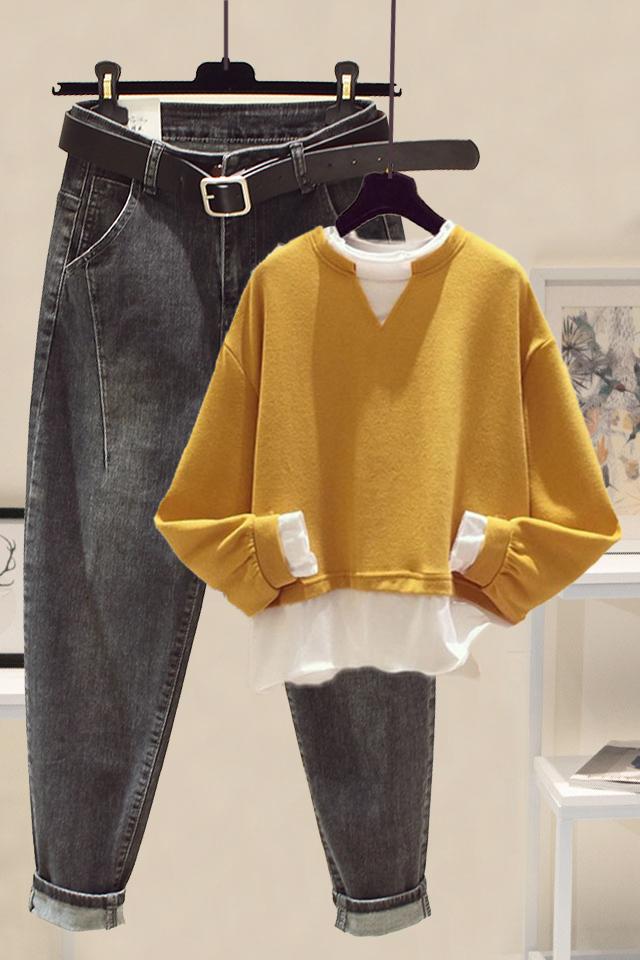 秋冬女时尚套装韩版拼接假两件卫衣女+高腰显瘦哈尼牛仔裤两件套