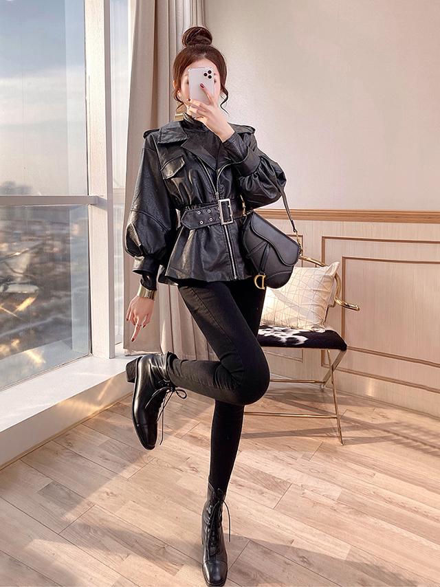 小个子时尚套装两件套秋冬女新款显瘦穿搭收腰夹克皮衣外套休闲裤