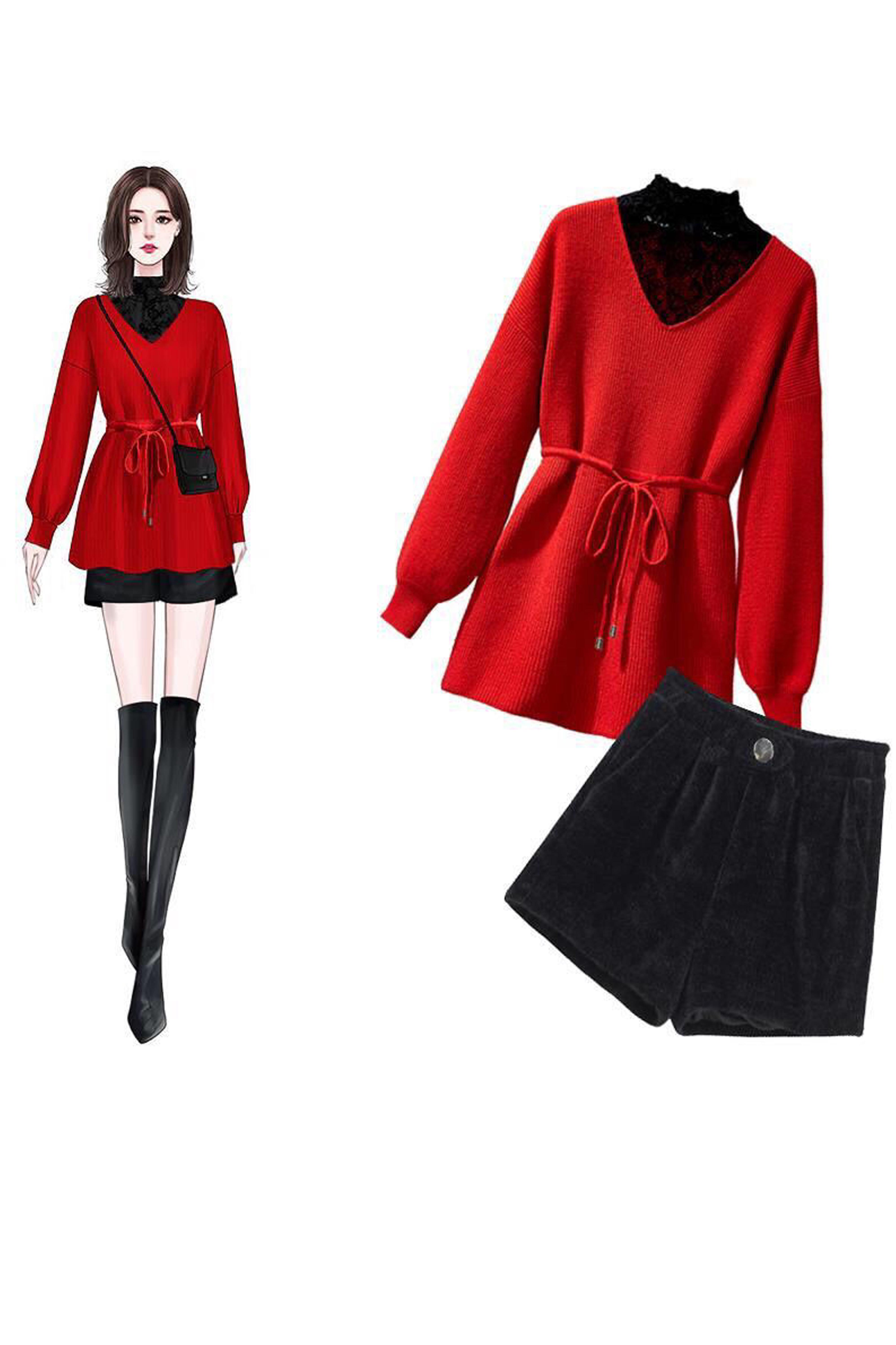 单/套装大码女装200斤秋冬胖妹妹新款宽松毛衣+短裤两件套女