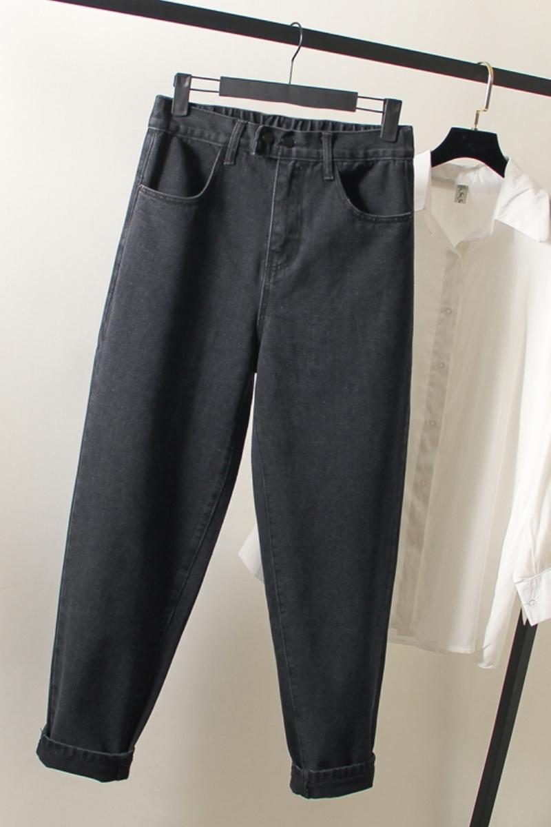 加大码黑色宽松直筒牛仔裤女秋季新款高腰超显瘦老爹哈伦萝卜裤子