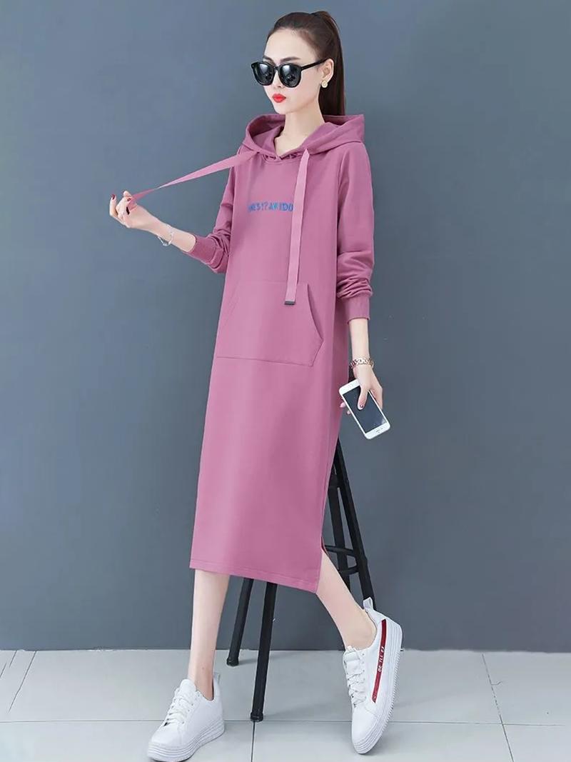 棉质大码卫衣女秋冬装新款长袖连衣裙女中长款宽松打底女裙