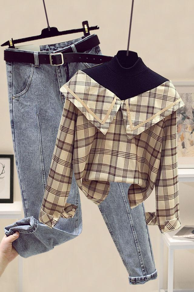小个子时尚套装抖音网红薄款卫衣女+高腰显瘦哈尼牛仔裤女两件套
