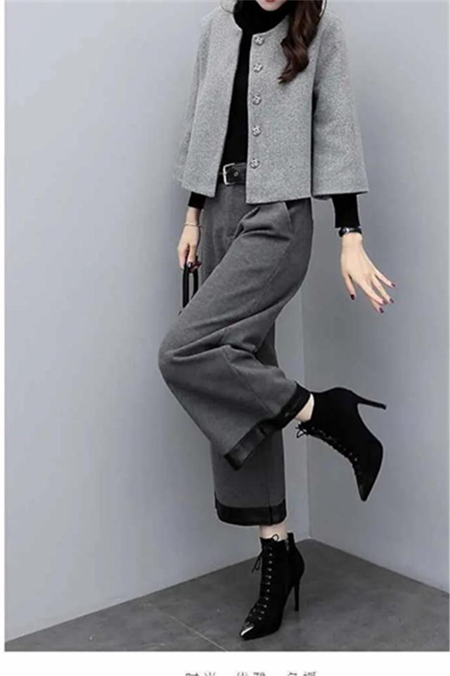 小莫甘娜春季新款时尚韩版女装大码毛呢短外套阔腿裤休闲两件套