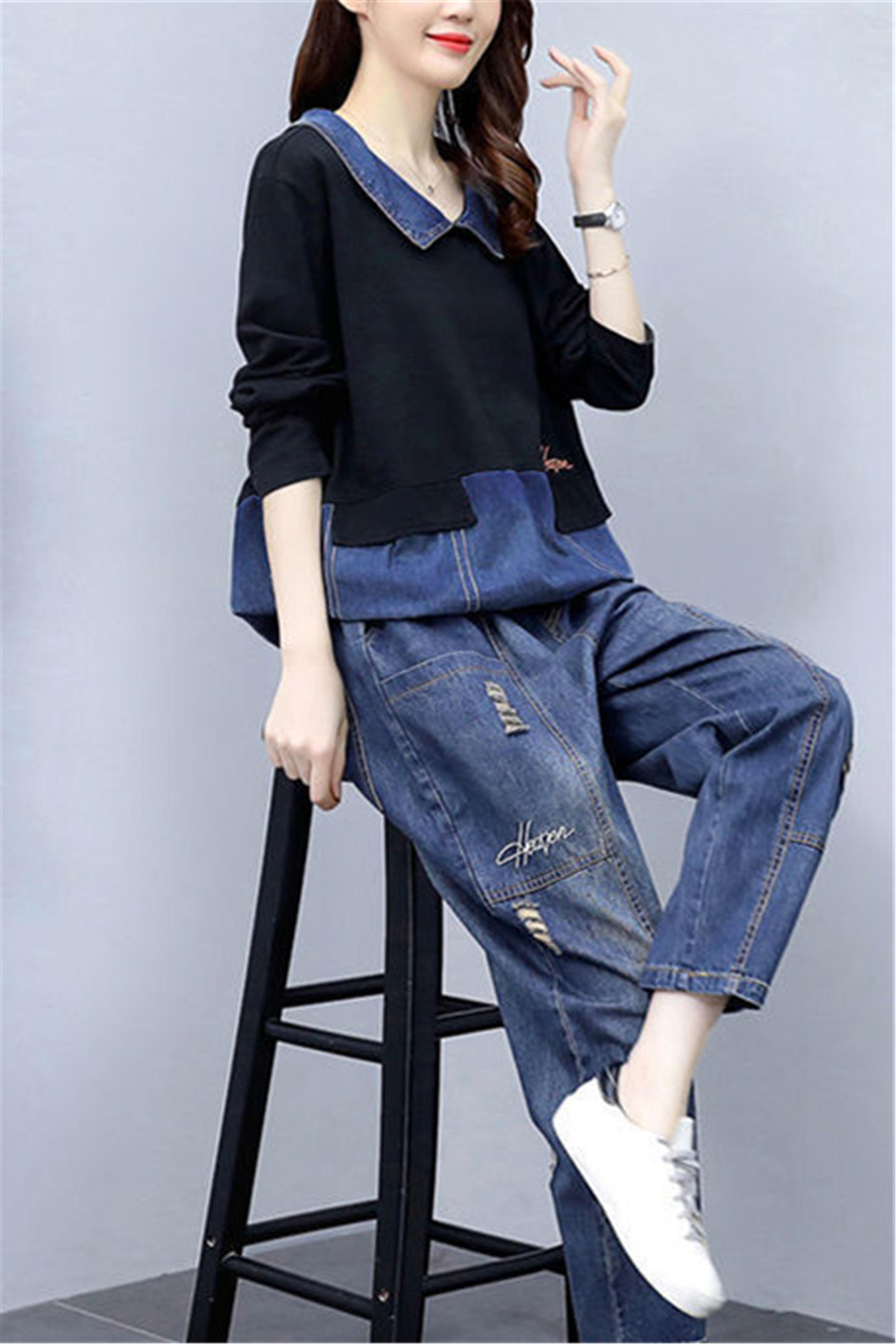 单/大码女装牛仔女2020秋季新款韩版宽松遮肉显瘦休闲两件套