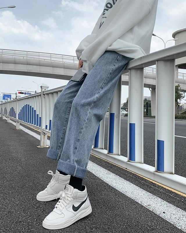 高腰阔腿裤显瘦牛仔裤女春季2021年新款百搭宽松大码直筒裤子